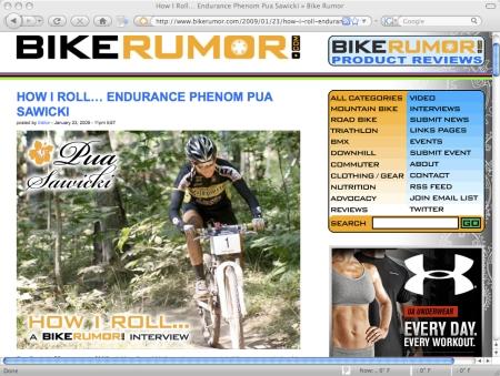 Pua interview on BikeRumor.com