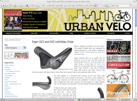 Urban Velo plays with Ergon